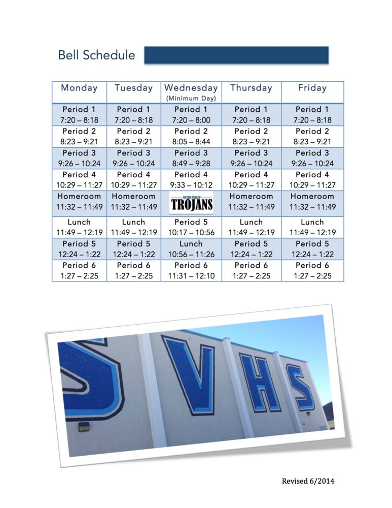 Svusd Calendar.Bell Schedule Page Silver Valley High School